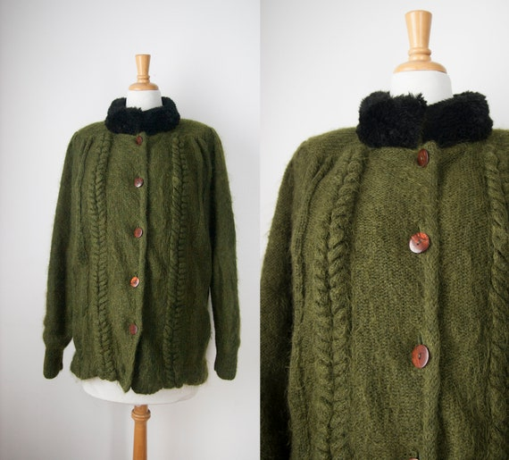 Mohair Blend Vintage Sweater Coat, Khaki Button up