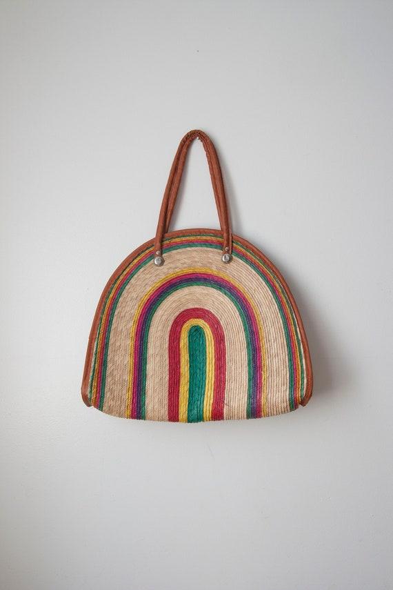 Rainbow Straw Bag // Multi Coloured Shoulder Bag