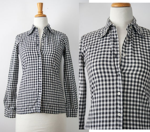 70s Black Gingham Shirt with Pointy Collar