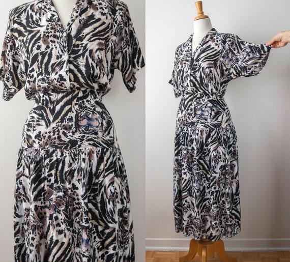 Animal Print Two Piece Set, Tiger Print Skirt set