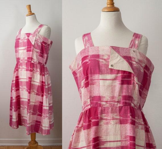 Fushia Plaid Strapy Dress, Pink Plaid Summer Dress
