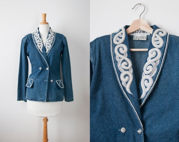 80s Denim Jacket, 80s Denim Beaded Blazer, Embelli