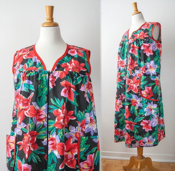 50s Sleeveless House Dress, Floral Chore Dress