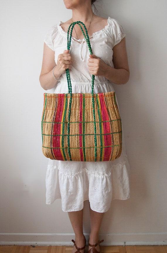 Straw Bag, Boho Summer Bag, Beach Bag, Green Red S