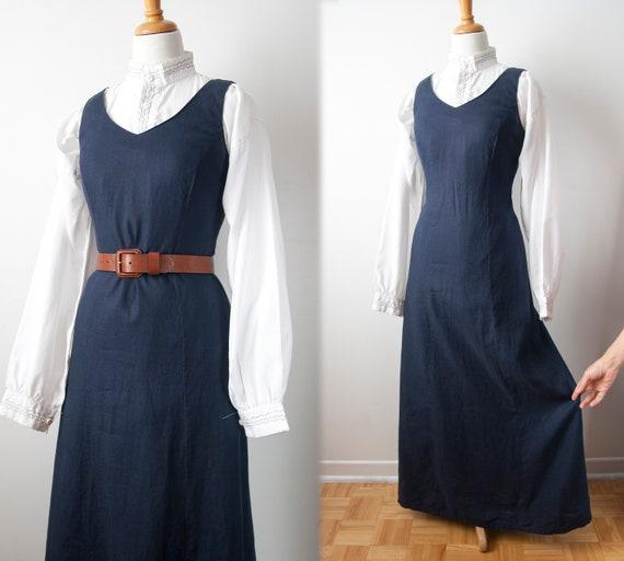 Navy Linen Jumper, Linen Sleeveless Maxi Dress
