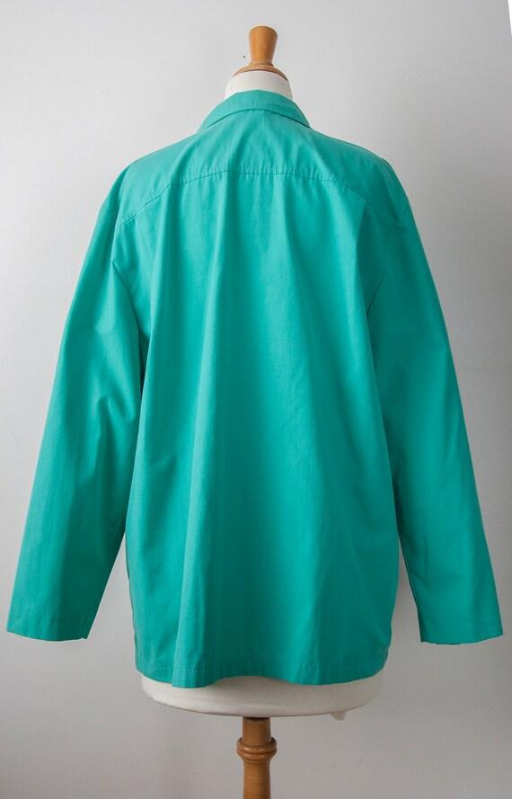 80s Turquoise Blazer, Aqua Oversized Blazer - image 8