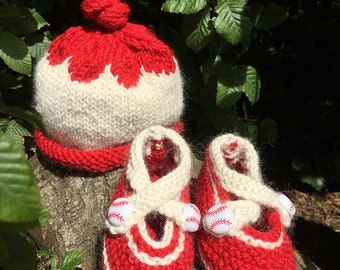 Striking Out Hand Knitted baby bootie and hat