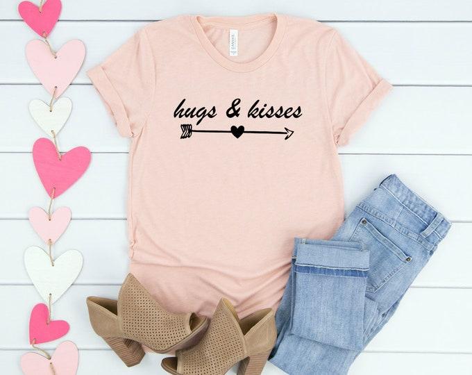 Kisses and Hugs, Valentine Shirt, Unisex Short Sleeve Shirt for Women