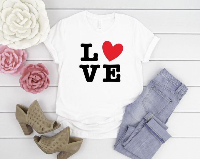 LOVE, Womens Graphic Tees, Valentines Shirt, T-shirts For Women
