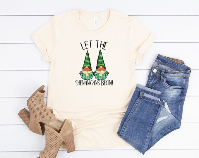 Let The Shenanigans Begin, St Patricks Day Shirt Women, St Patricks Day Gnome, Womens Graphic Tee