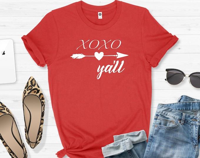 XOXO Y'all, Womens Valentines Shirt, Graphic Tees, Valentines Day Tshirt