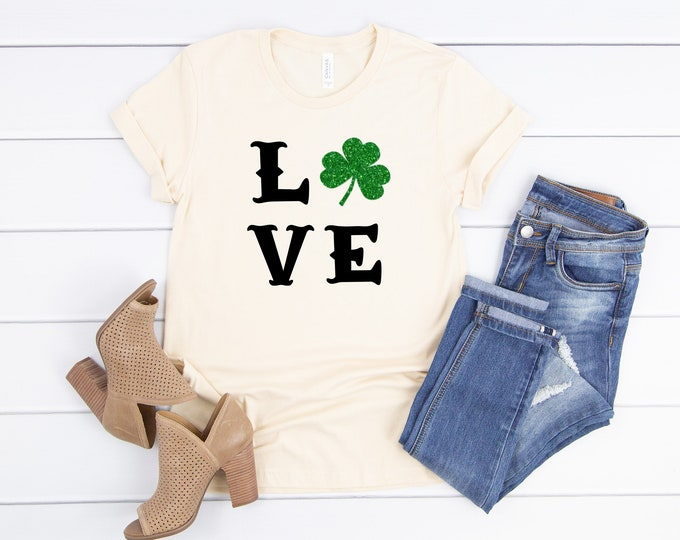 Love Shamrock Shirt, St Patricks Day Shirt Women, Womens Graphic Tees