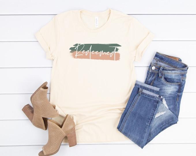 Redeemed Shirt, Redeemed, Christian T Shirts, Christian Shirt, Christian Tee, Jesus Shirt, Scripture Shirt, Yoga Shirt, Workout Shirt