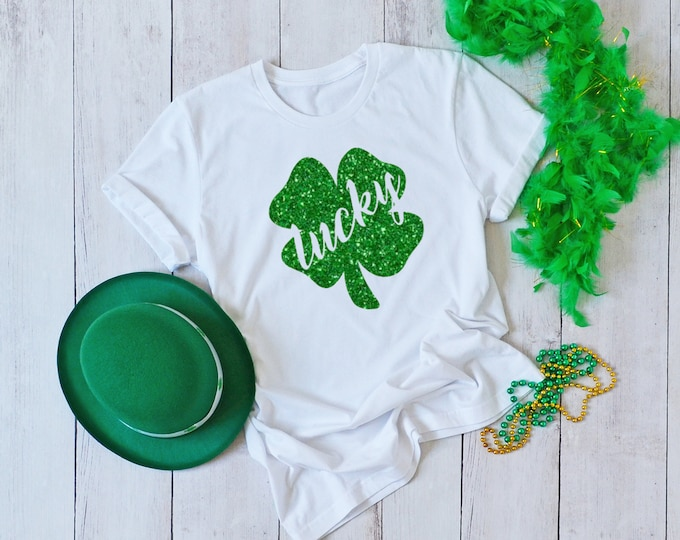Glitter Shamrock Shirt, St Patricks Day Shirt Women, Womens Graphic Tee, Lucky Shirt, 4 leaf Clover