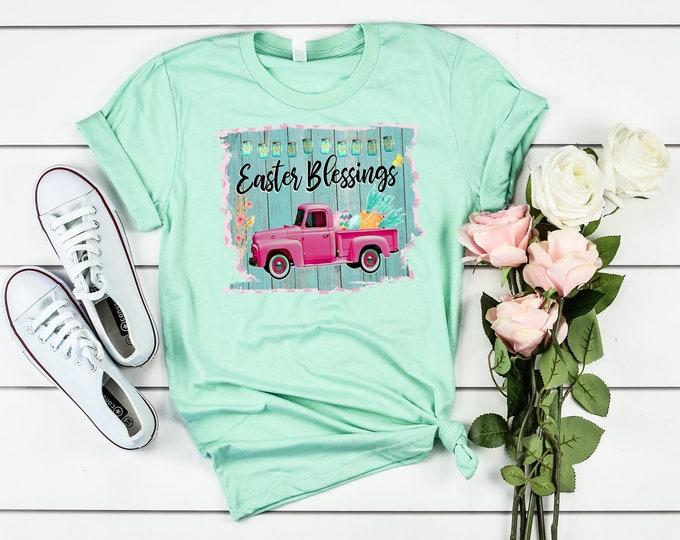 Easter t-shirt, Womens Easter shirt, Easter shirt, tee shirt, t shirt, womens, women's shirt, Easter day, vintage truck, Easter womens