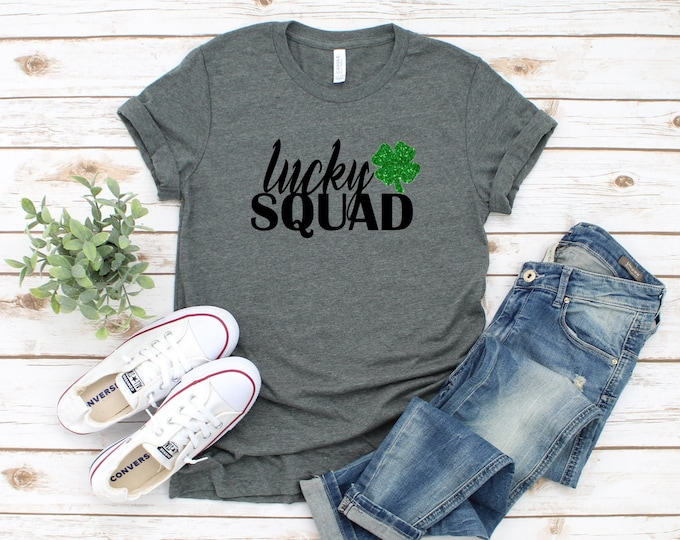 Glitter Lucky Squad Shirt, St Patricks Day Shirt Women, Womens Graphic Tee, Glitter Shamrock