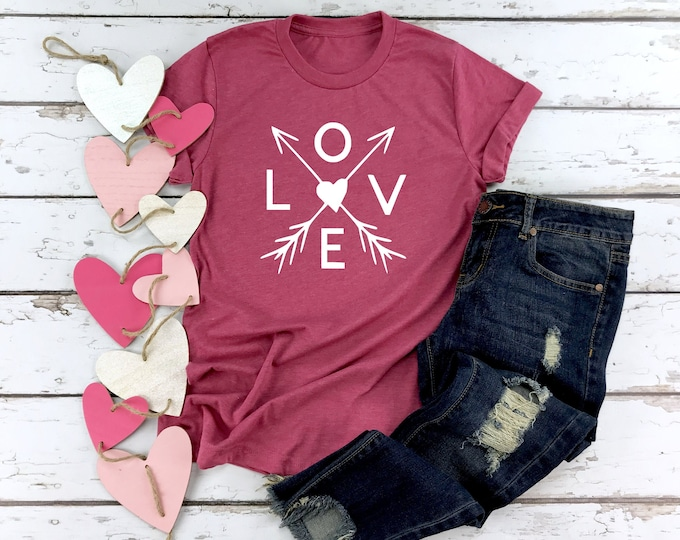 LOVE, Cupids Arrow, Women's Valentines Day Shirt, Cute Valentines Day Shirt, Womens Graphic Tee