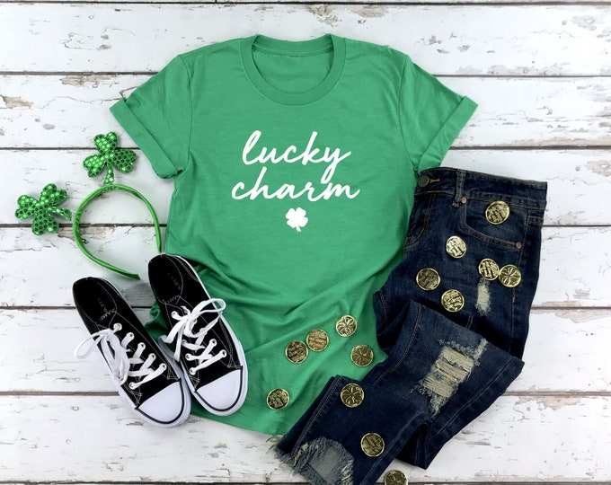 Lucky Charm Shirt, St Patricks Day Shirt Women, Womens Graphic Tee, 4 Leaf Clover