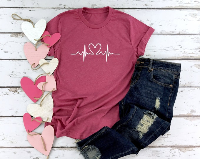 Heartbeat, Womens Graphic Tee, Valentines Shirt, Nurse t-shirts, Nurse Gift