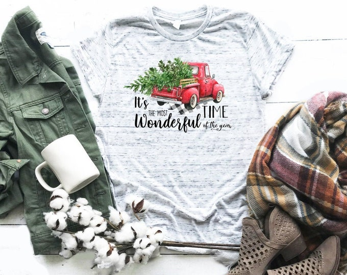 Its The Most Wonderful Time Of The Year Vintage Truck Christmas Shirt, Unisex Short Sleeve Shirt for Women