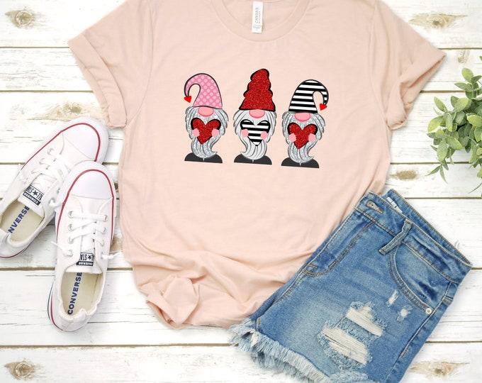 Valentine Gnome Shirt, Womens Valentines shirt, Womens Graphic Tee, Valentines Day Tshirt