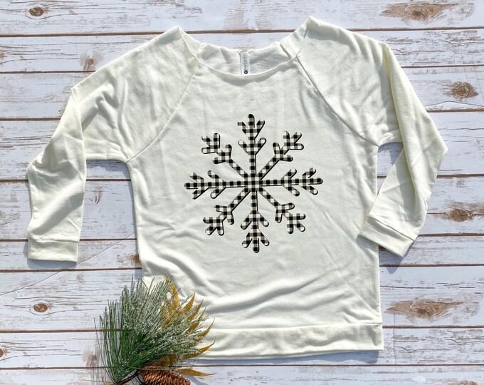 Plaid Snowflake, Womens Christmas Shirt