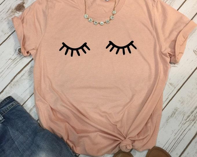 Lashes, Unisex Short Sleeve Shirt for Women