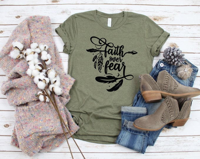 Faith Over Fear, Christian T Shirts, Inspirational shirts, Christian Shirts, Gift For Her, Christian Gifts, Faith Shirt, Girl Boss Shirt