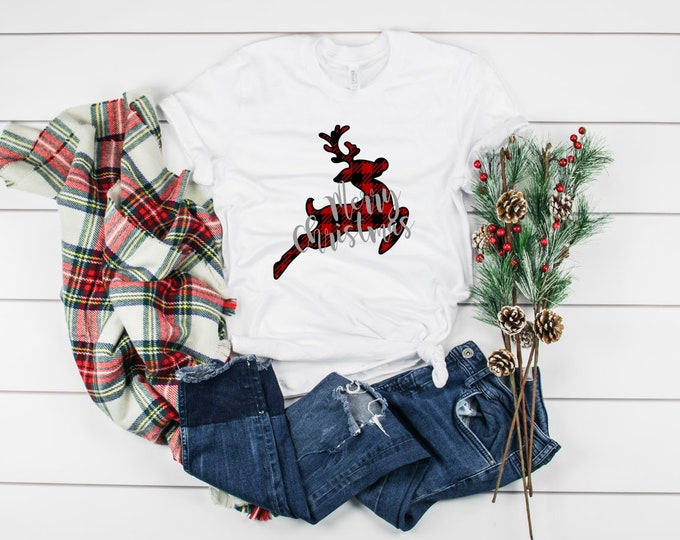 Buffalo Plaid Reindeer, Joy Shirt, Christmas Shirts, Christmas Shirts For Women, Family Christmas Shirts, Christmas Tshirt, Graphic Tee