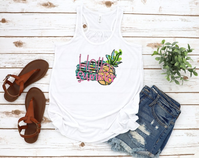 Hello Summer Tank Top, Pineapple Tank, Summertime, Welcome Summer, Womens Graphic Tee