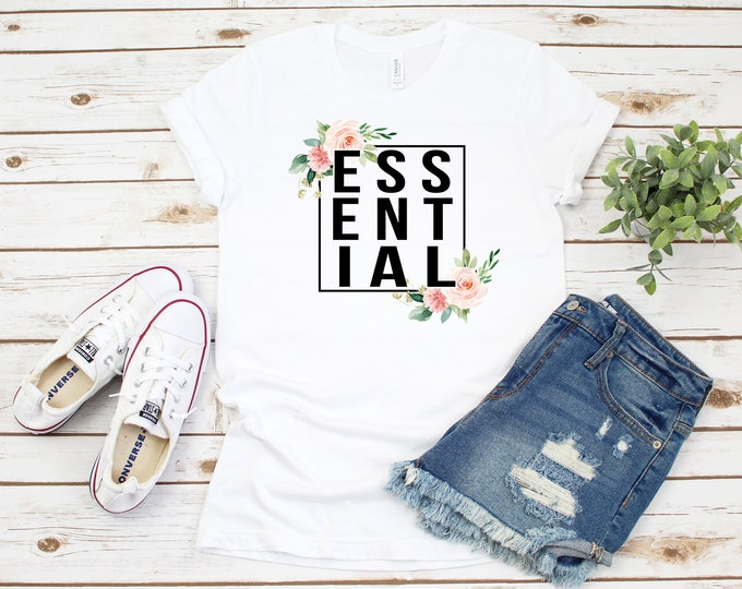 Essential Worker Graphic Tshirt, Floral  Essential Womens Shirt