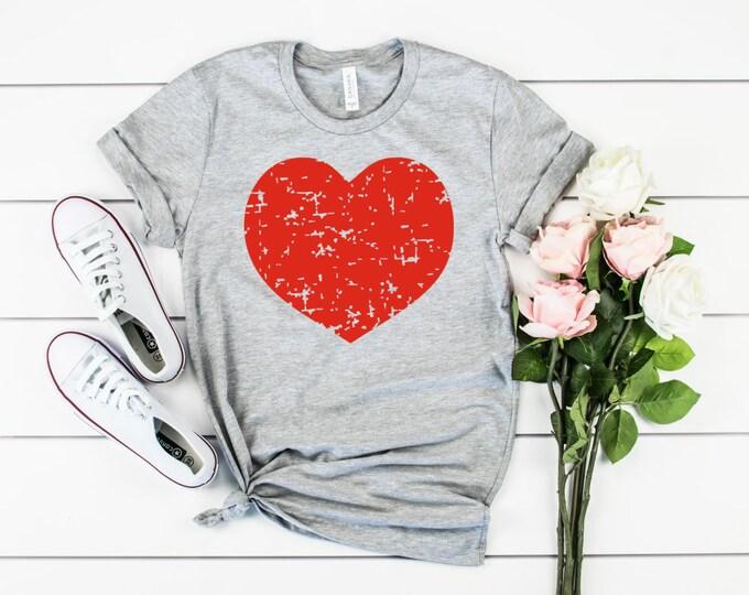Distressed Heart Shirt, Valentines Shirt, Womens Graphic Tee, Valentines Day Tshirt