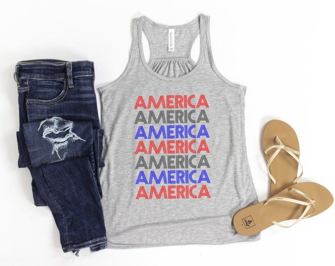 America Tank, 4th Of July Graphic Tee, Womens Independence Day,