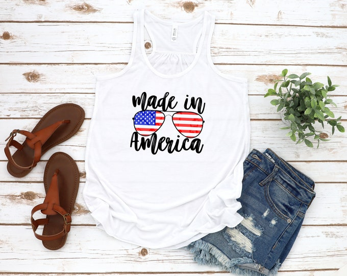 Made In America Tank Top, Sunglasses Tank, 4th Of July Tank Top, July 4th, Independence Day, Womens Graphic Tee