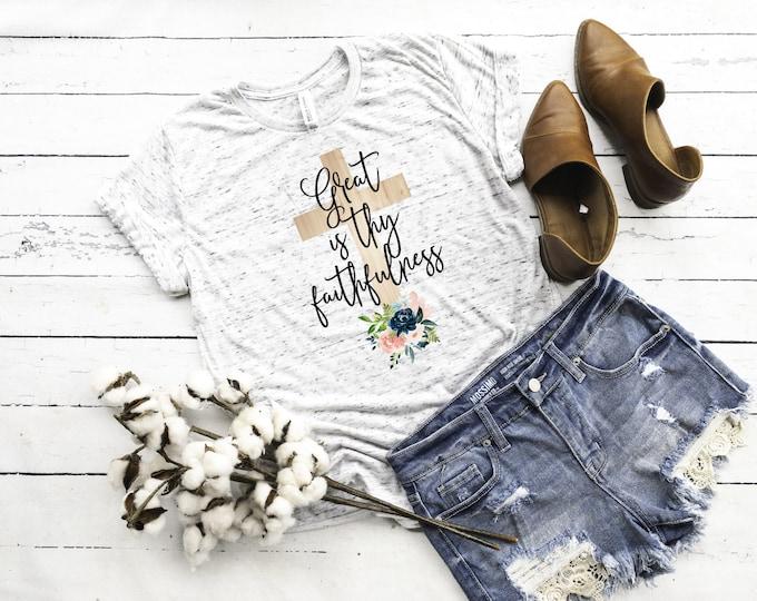 Great Is Thy Faithfulness, Proverbs 31:25, Christian Shirt, Unisex Short Sleeve Shirt for Women