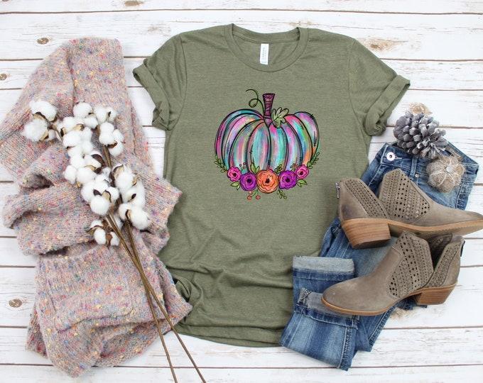 Rainbow Pumpkin, Colorful Pumpkin Tshirt, Fall Shirt, Halloween Shirt, Thanksgiving Shirt, Fall Tshirt