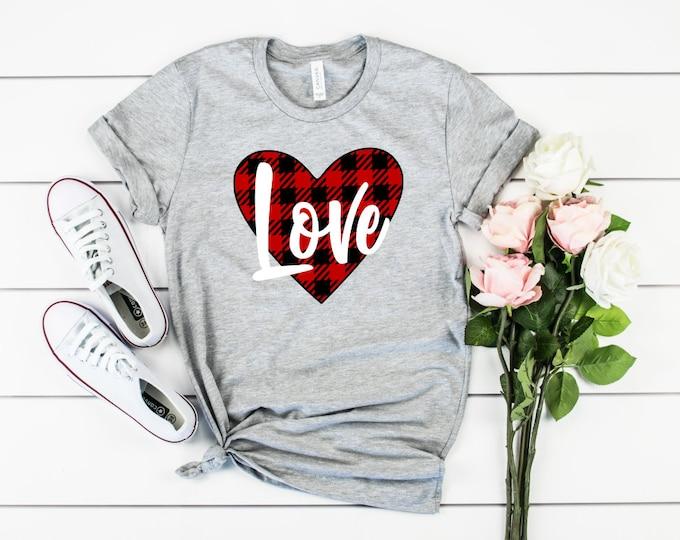 Buffalo Plaid Love Valentines t-shirt, Womens valentines shirt, Womens Graphic Tees, Valentines Day