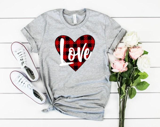 Buffalo Plaid Love Valentines t-shirt, Womens valentines shirt, valentines shirt, women's shirt, valentines day, valentines tee