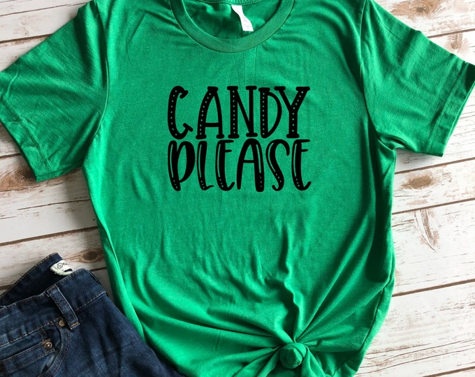 Candy Please Cute Trick Or Treating and Halloween Shirt for Women