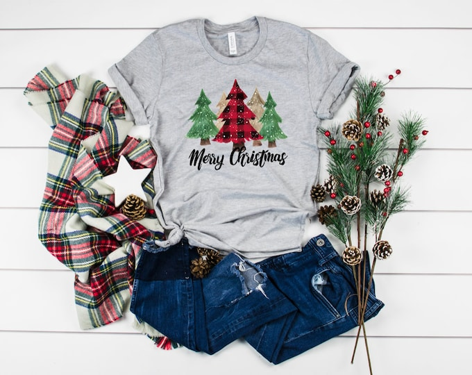 Merry Christmas Plaid Christmas Trees, Unisex Short Sleeve Shirt for Women