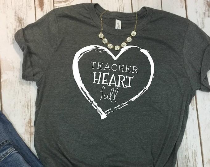 Teacher Heart Full Shirt, Cute Teacher Tshirt, Gift For Teacher