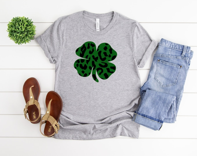 Green Leopard Print, St Patricks Day Shirt, Womens Graphic Tee, St Pattys Day