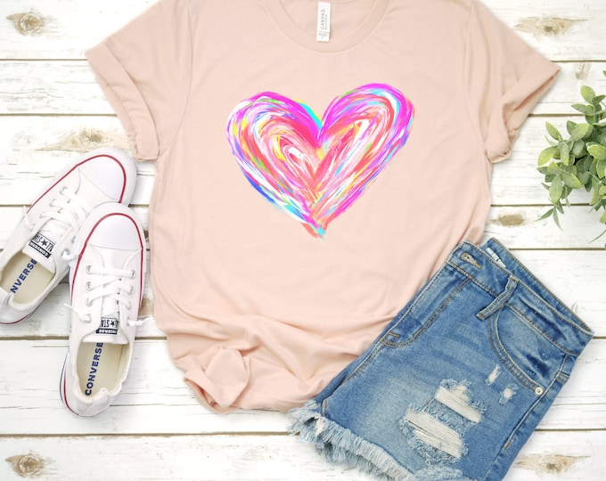 Colorful Heart, Valentines shirt, Valentines Day Tshirt, Womens Graphic Tee