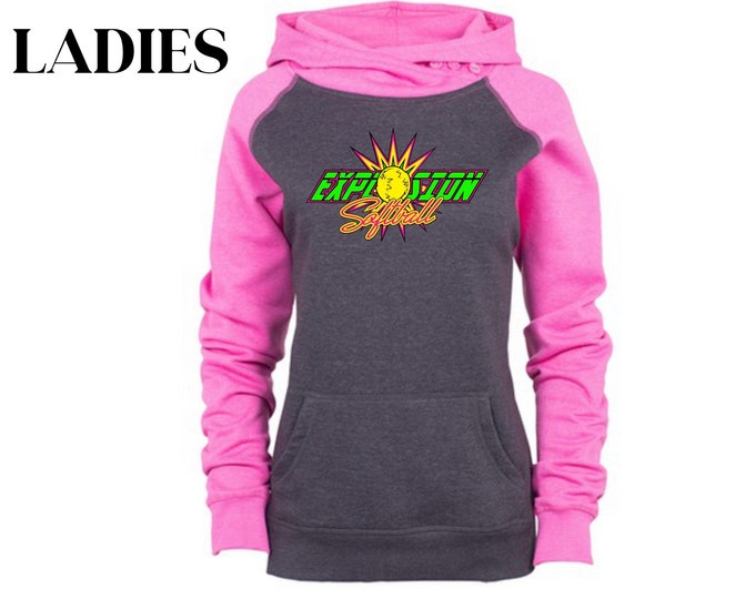 Ladies Charcoal And Pink Button Up Cowl Neck Sweatshirt
