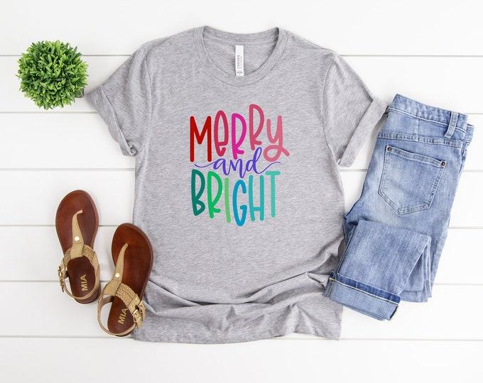 Merry And Bright, Womens Christmas Graphic Tshirt