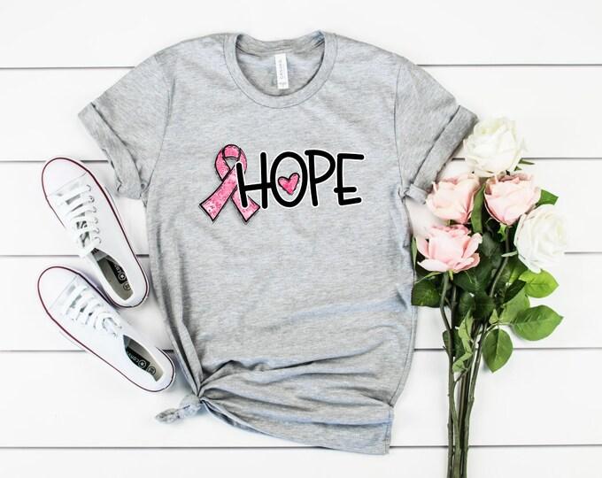 Pink Ribbon Breast Cancer Awareness Hope Shirt, Unisex Short Sleeve Shirt for Women