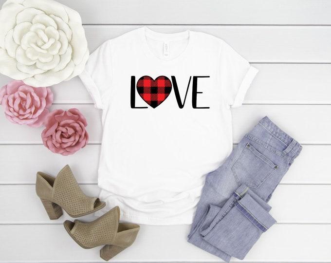 Love Buffalo Plaid Heart Tee, Valentines Shirt, Womens Graphic Tees, Valentines Day Tshirt