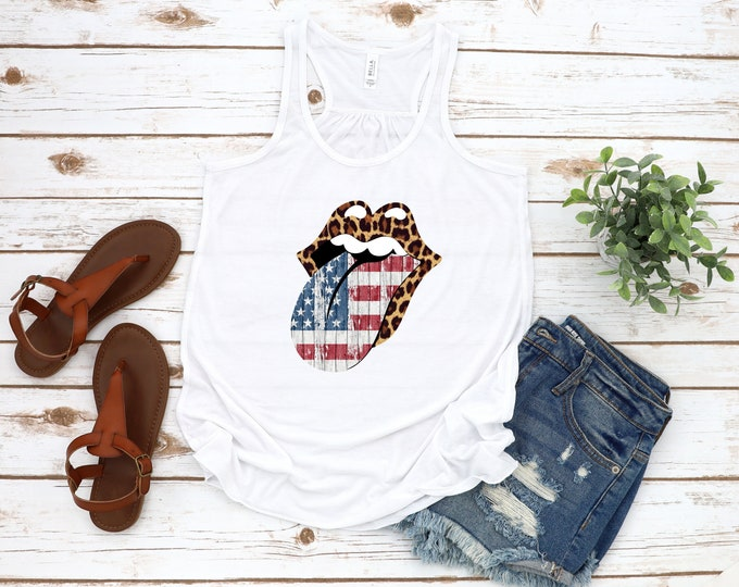 Wild and Free Tank Top, 4th Of July Tank, Flag and Leopard Tongue, Womens Independence Day Graphic Tee