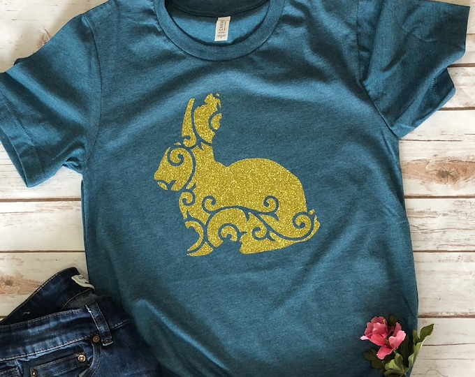 Womens Glitter Easter Bunny shirt, Easter shirt women, Christian T Shirts, Easter Shirt, Inspirational Shirt, Glitter Shirt