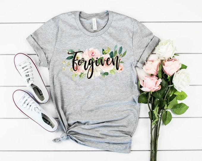 Forgiven, Christian Shirt, Unisex Short Sleeve Shirt for Women